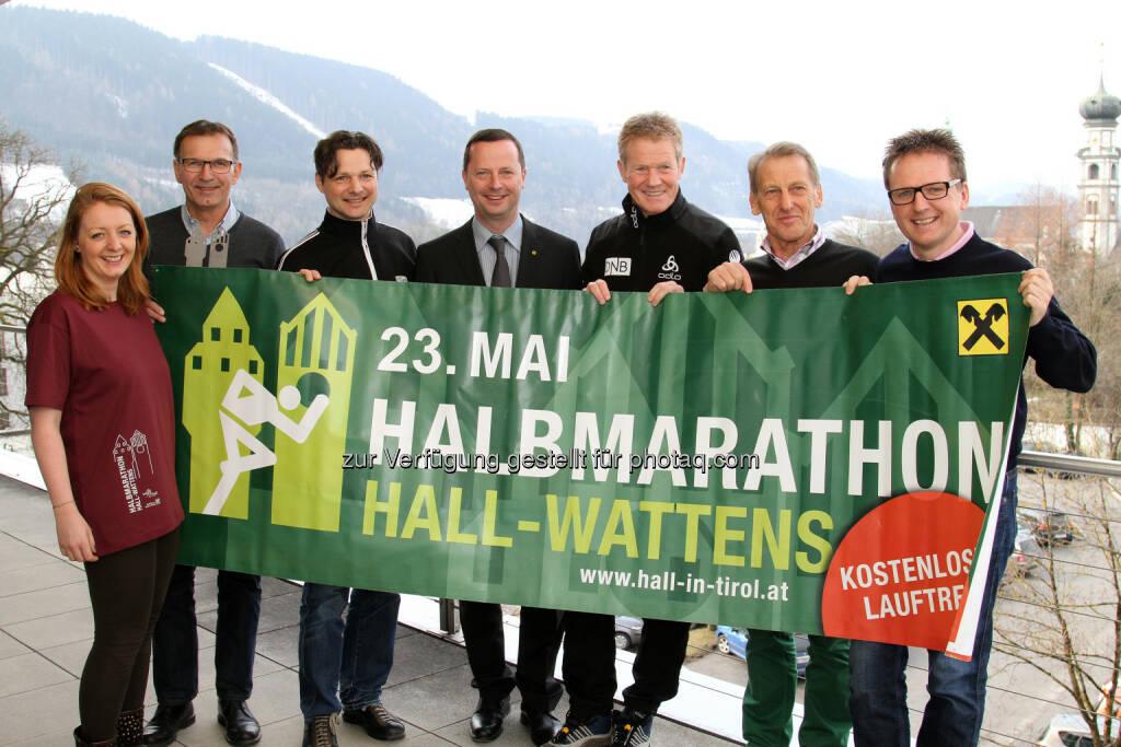 Caroline Schneider, Willi Greuter, Michael Gsaller, Erich Plank, Othmar Peer, Heinz Lutz, Martin Krämer: Stadtmarketing Hall in Tirol: Vorbereitungen für den 9. Raiffeisen Halbmarathon Hall-Wattens (23. 5. 2015) , © Aussendung (16.03.2015)
