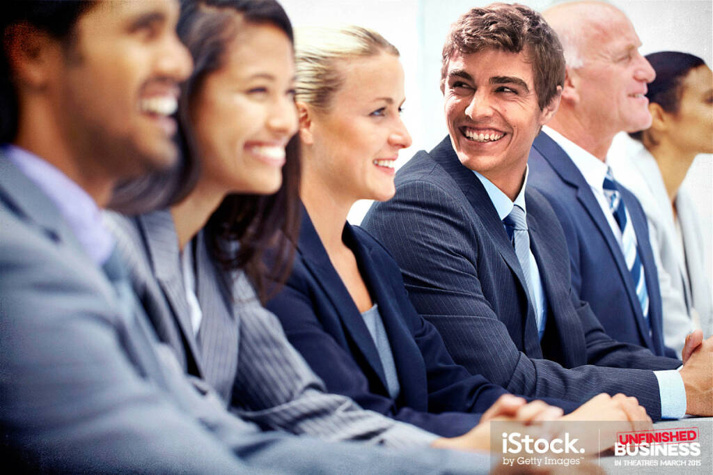 Mike Pancake is super excited to attend a boardroom presentation - A young, handsome executive attending a seminar with his peers, iStock, Getty Images (16.03.2015)