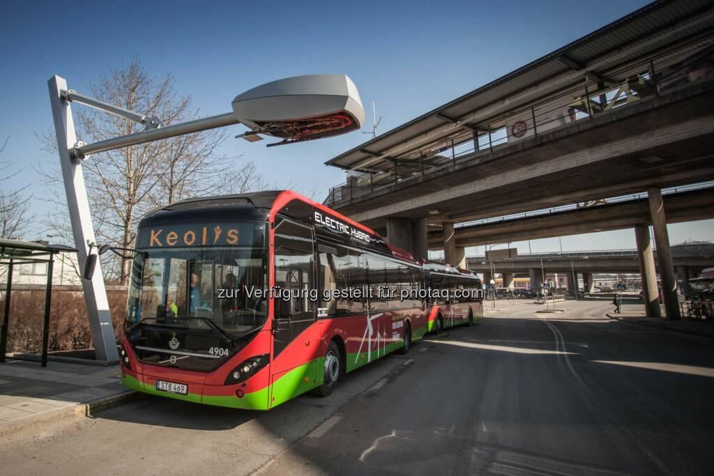 Elektro-Hybridbuslinie in Stockholm mit Ladetechnik von Siemens., © Aussendung (17.03.2015)
