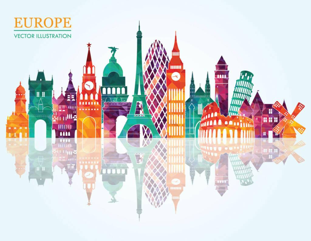Europa, Wahrzeichen, Eifelturm, Big Ben, Turm von Pisa, http://www.shutterstock.com/de/pic-238249900/stock-vector-europe-skyline-detailed-silhouette-vector-illustration.html, © www.shutterstock.com (20.03.2015)