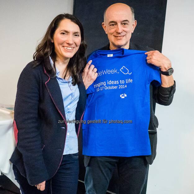 Meral Akin-Hecke, Digital Champion Austria mit Johann Stockinger, OCD: Codeweek Show & Tell Event, 20.03.2015: Europa muss programmierfit werden!!, © Aussendung (23.03.2015)
