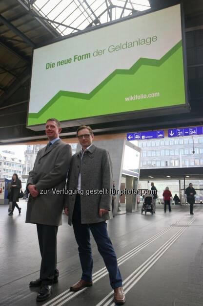 Carsten Lütke-Bornefeld (L&S) und Andreas Kern (wikifolio) holen in Zürich neue Anleger ab (23.03.2015)