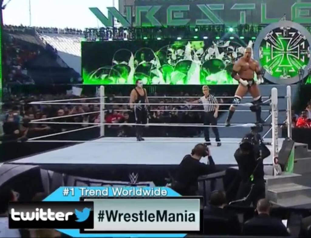 Sting vs. Triple H: WWE war rund um Wrestlemania 31 der #1 Trend weltweit bei Twitter, © Aussendung (30.03.2015)