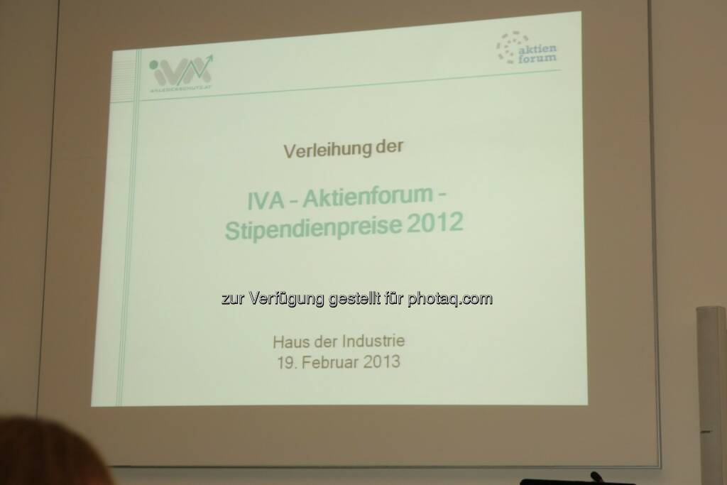 IVA - Aktienforum Stipendienpreise 2012, © IVA (20.02.2013)