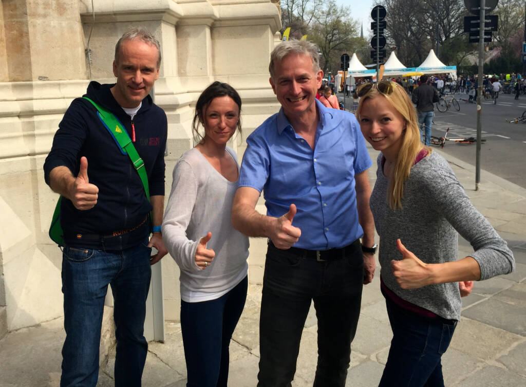 Christian Drastil, Anna Sollereder, Dieter Kotlowski und Nadine Brandl die Staffel 1 der emadeus Alumni Club der Österreichischen Sporthilfe (11.04.2015)