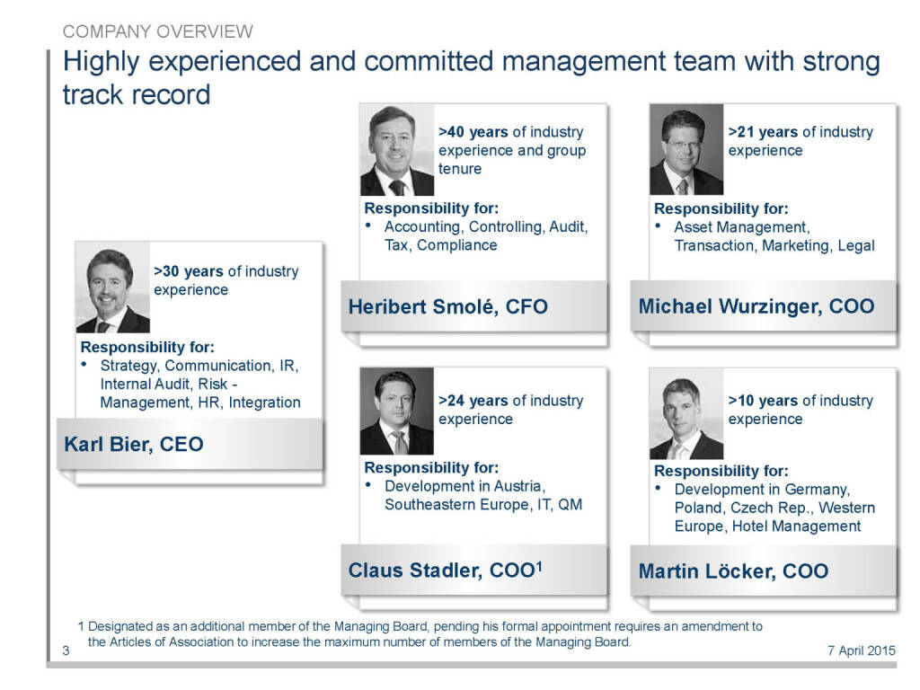 Highly experienced and committed management team with strong track record (16.04.2015)
