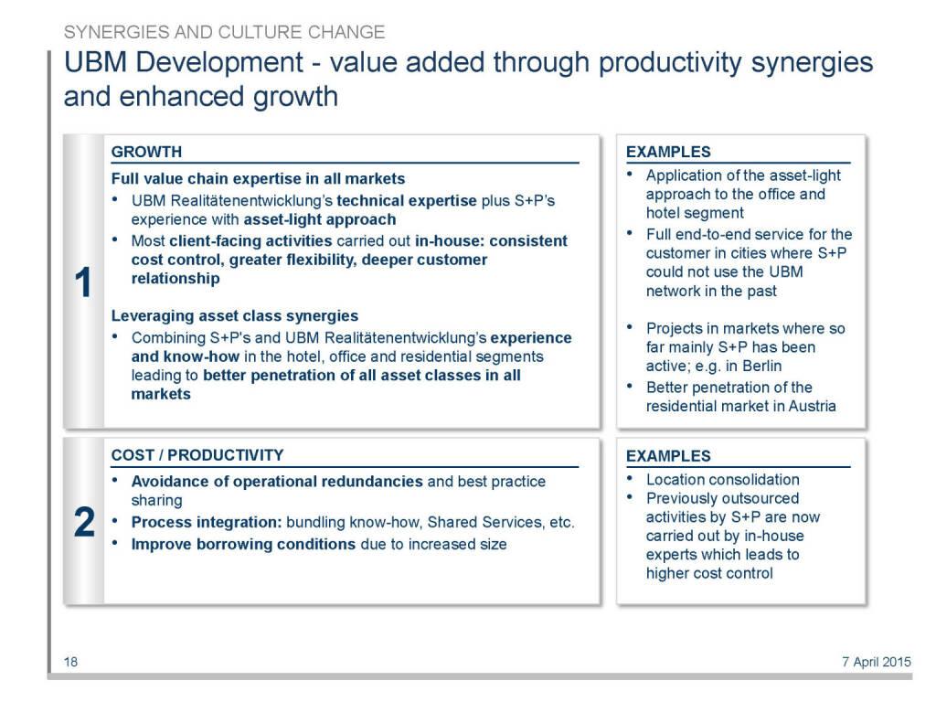 UBM Development - value added through productivity synergies and enhanced growth (16.04.2015)