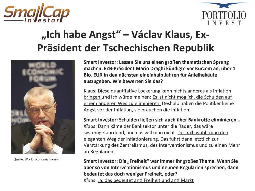 """""""Ich habe Angst"""" – Václav Klaus (24.04.2015)"""