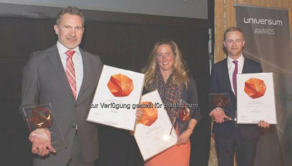 Oliver Ferschke, Leiter des Personalmarketings BMW Group, Antje Maas (Audi), Christoph Welz (Porsche): BMW Group: Verleihung Universum Award 2015 Kategorie Business, © Aussendung (28.04.2015)