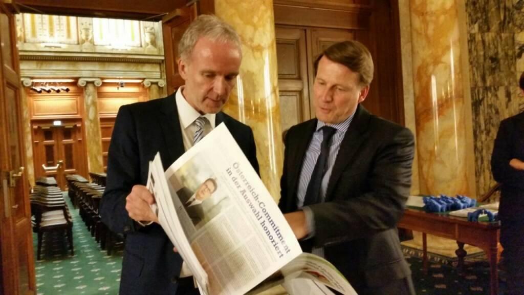 Mit Lars Brandau beim Zertifikate Award Austria 2015, da kommt eine nette Kooperation © Christian-Hendrik Knappe (11.05.2015)