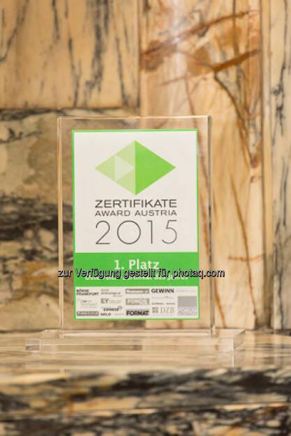 Zertifikate Award 2015 - Trophäe Zertifikat des Jahres, © ViennaShots - professional photographers, Andreas Pecka (11.05.2015)