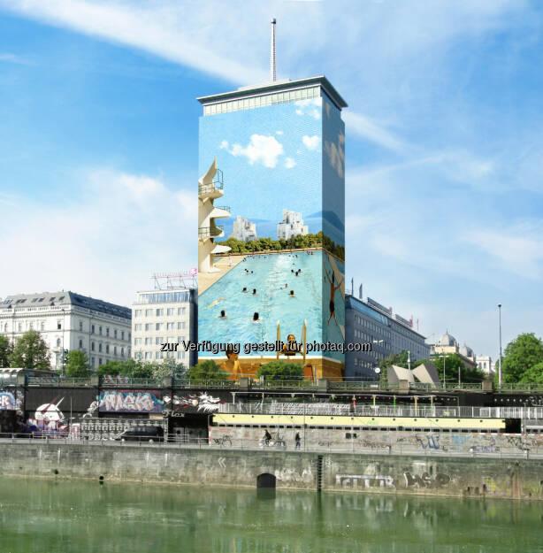 Zu seinem 60-jährigen Jubiläum zieht der Ringturm die Aufmerksamkeit der internationalen Kunstszene auf sich. Mit dem Werk Sommerfreuden der kroatischen Künstlerin Tanja Deman setzt der Wiener Städtische Versicherungsverein die Verhüllung des Ringturms zum achten Mal fort., © Aussendung (11.05.2015)