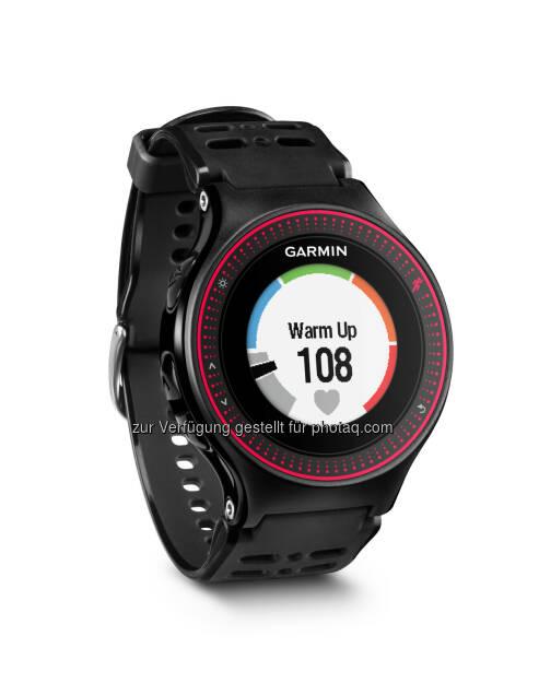 Garmin Austria GmbH: Der Puls ohne Gurt – neue Laufuhr von Garmin. Mit dem Forerunner® 225 bringt Garmin seine erste GPS-Laufuhr mit Pulsmessung direkt am Handgelenk. Farb-Display, Activity Tracker und Beschleunigungssensor ergänzen das ganze., © Aussendung (12.05.2015)