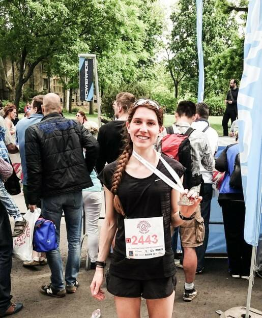 9. Gesamt und happy beim windigen und heißen Budapester Frauenlauf 2015, © Melanie Raidl (18.05.2015)