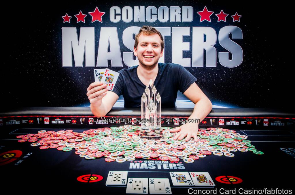 Concord Masters Gewinner Paul Rosner: CBA Spielapparate- und Restaurantbetriebs GmbH: Österreicher gewinnt beim Pokerevent Concord Masters in Wien fast € 60.000, © Aussender (18.05.2015)