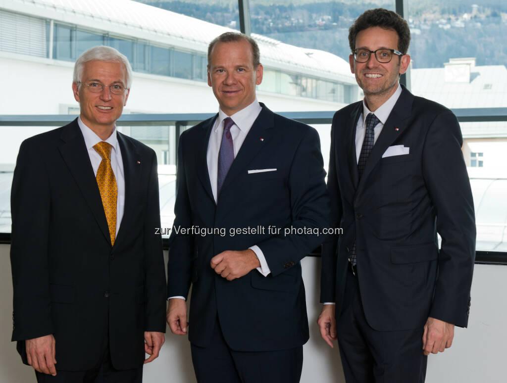 Matthias Moncher, Peter Gaugg und Gerhard Burtscher (v.l.n.r., BTV Vorstände ) - Vertrauen in die BTV steigt weiter (Bild: Martin Vandory), © Aussendung (19.05.2015)