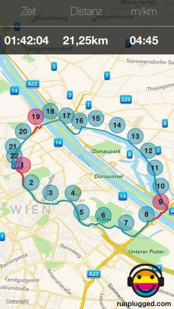 Halbmarathon-Runde ausgehend von der Friedensbrücke, gelaufen mit http://bit.ly/1lbuMA9 (27.05.2015)