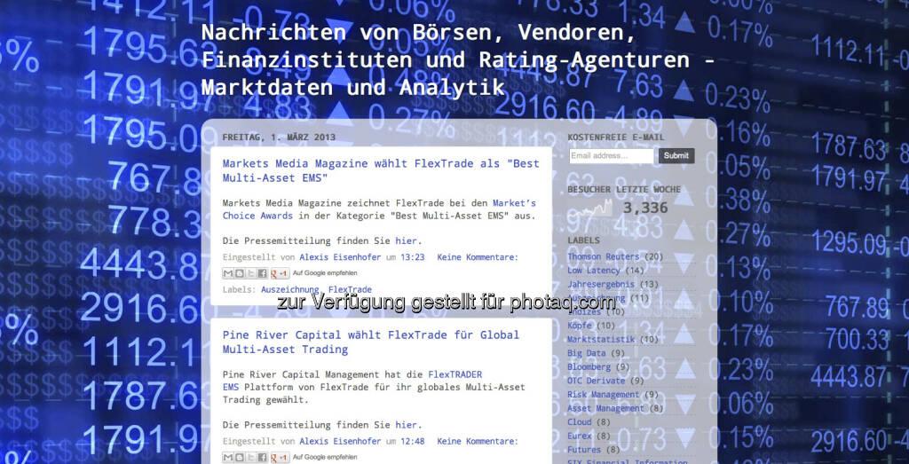 http://marktdatenbranche.de/ - eine tolle Blog-Idee von Alexis Eisenhofer mit Nachrichten zu Börsen, Vendoren, Finanzinstituten und Rating-Agenturen (01.03.2013)