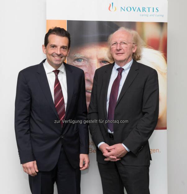 Artur Wechselberger besuchte Novartis Austria am Standort Wien und wurde von Country President George Zarkalis willkommen geheißen - Nachhaltigkeit und Integration zentral für erfolgreiche Gesundheitsreform (Bild: Jürg Christandl), © Aussendung (29.05.2015)
