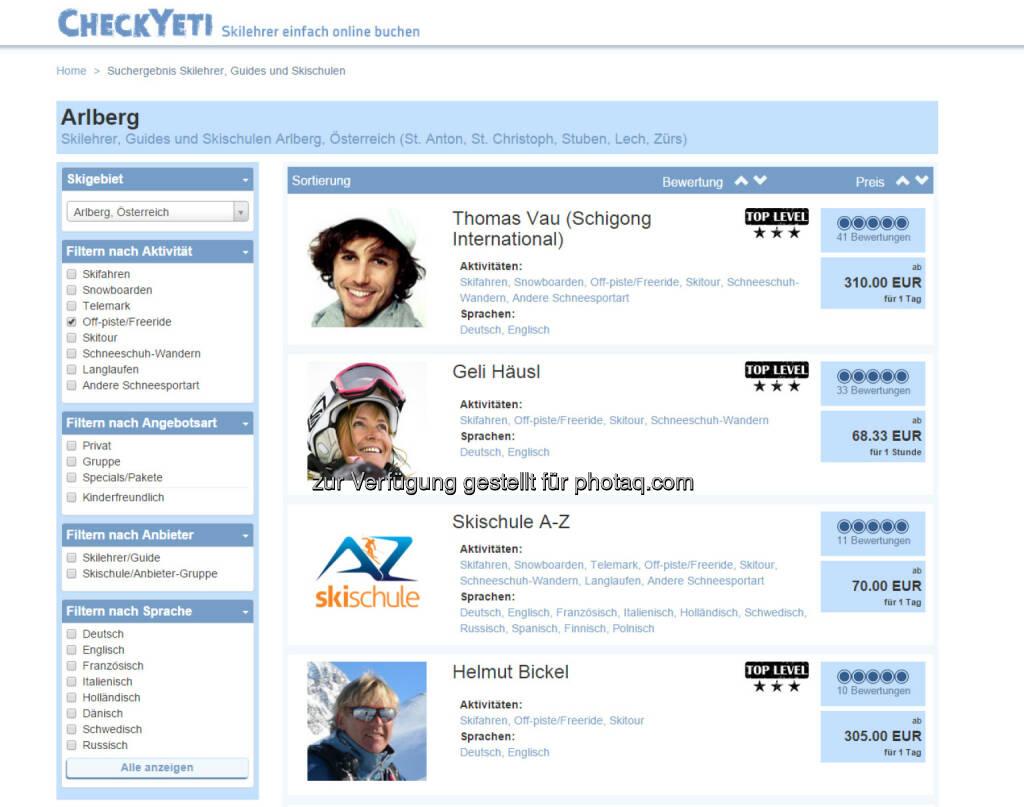 CheckYeti.com: Erster Online-Marktplatz für Wintersport nimmt Fahrt auf, © Aussender (01.06.2015)