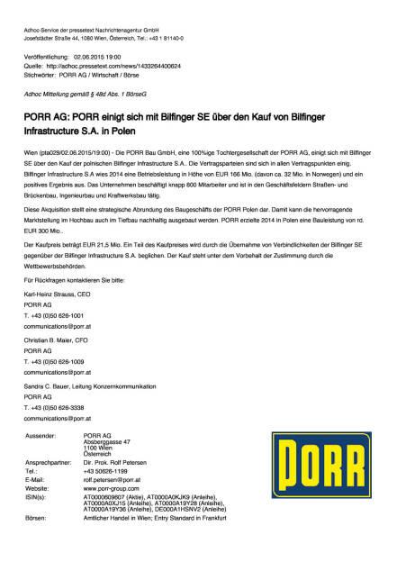 Porr einigt sich mit Bilfinger SE über den Kauf von Bilfinger Infrastructure S.A. in Polen, Seite 1/2, komplettes Dokument unter http://boerse-social.com/static/uploads/file_73_porr_bilfinger.pdf (03.06.2015)