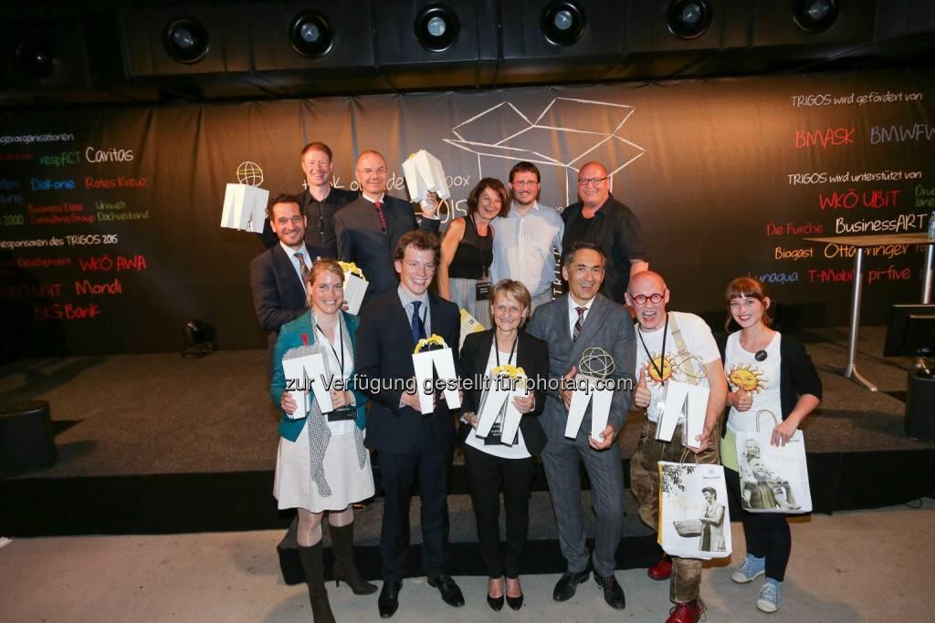 Hubert Rhomberg, CEO und Eigentümer (Rhomberg Bau GmbH), Johannes Gutmann, CEO (Sonnentor Kräuterhandels GmbH), obias Judmaier, CEO, (iss mich! Catering e.U.), Wolfram Littich, CEO (Allianz),  Armand Colard, Richard Bachinger (Kommunikation, OMV), Heidi Burkhart (Hilfswerk Austria), Elisabeth Krön, GF (Specialisterne Austria), Monika Haider, GF (Equalizent Schulungs- und Beratungs GmbH): Gewinner des Trigos 2015 (C) Trigos, © Aussendung (03.06.2015)