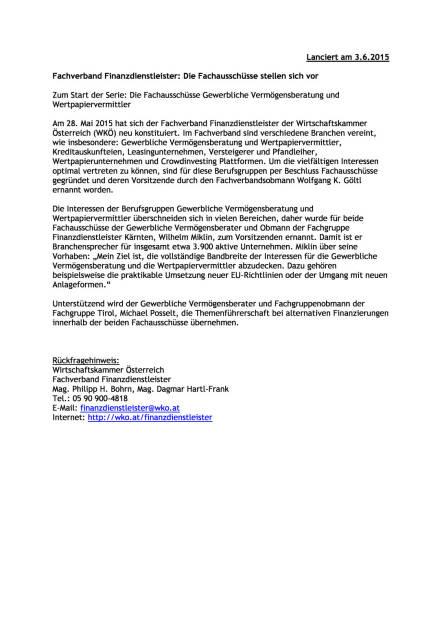 Fachverband Finanzdienstleister: Die Fachausschüsse stellen sich vor, Seite 1/1, komplettes Dokument unter http://boerse-social.com/static/uploads/file_78_fachverband_finanzdienstleister.pdf (03.06.2015)