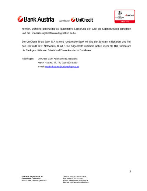 UniCredit Bank Austria kauft sämtliche Anteile von Tiriac Holdings an der UniCredit Tiriac Bank, Seite 2/2, komplettes Dokument unter http://boerse-social.com/static/uploads/file_81_unicredit_tiriac_bank.pdf (03.06.2015)
