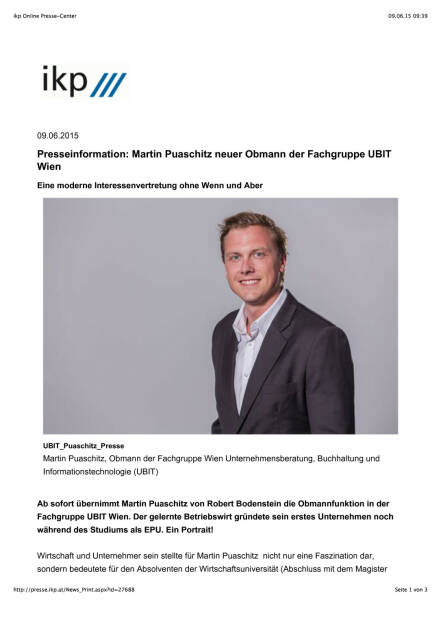 Martin Puaschitz neuer Obmann der Fachgruppe UBIT Wien, Seite 1/3, komplettes Dokument unter http://boerse-social.com/static/uploads/file_97_ubit-wien-chef.pdf (09.06.2015)