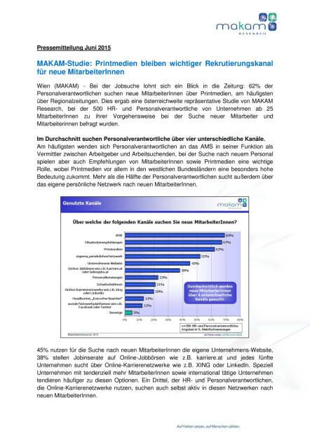 Printmedien bleiben wichtiger Rekrutierungskanal für neue MitarbeiterInnen, Seite 1/2, komplettes Dokument unter http://boerse-social.com/static/uploads/file_98_makam_jobstudie.pdf (09.06.2015)
