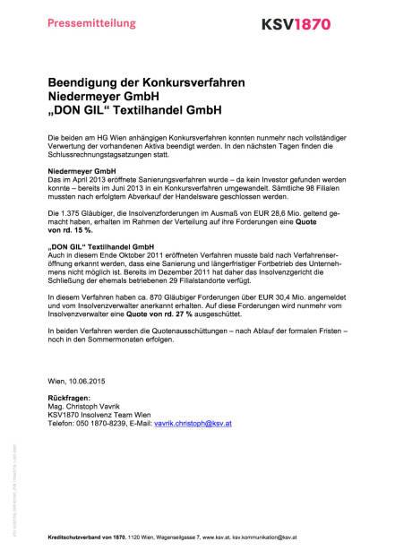 Quoten bei Niedermeyer und DonGil stehen fest, Seite 1/1, komplettes Dokument unter http://boerse-social.com/static/uploads/file_102_quoten_niedermeyer_dongil.pdf (09.06.2015)
