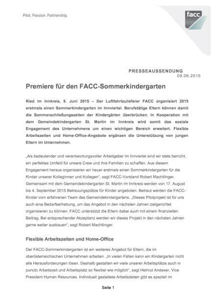 Premiere für den FACC-Sommerkindergarten , Seite 1/3, komplettes Dokument unter http://boerse-social.com/static/uploads/file_105_facc_kinder.pdf (09.06.2015)