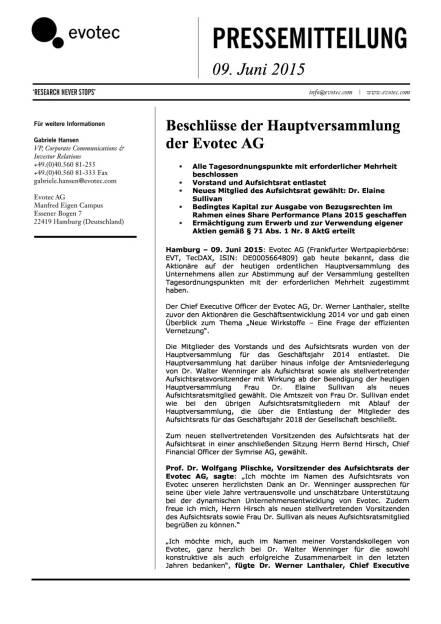 Evotec: Elaine Sullivan neu im AR, Seite 1/2, komplettes Dokument unter http://boerse-social.com/static/uploads/file_104_elaine_sullivan.pdf (09.06.2015)
