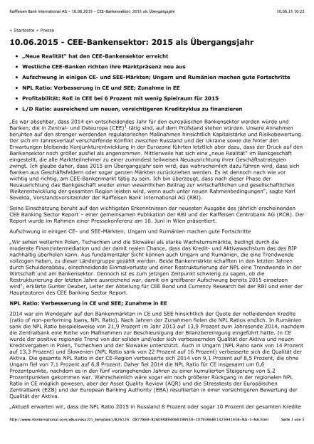 RBI CEE-Bankensektorreport, Seite 1/5, komplettes Dokument unter http://boerse-social.com/static/uploads/file_111_rbi_cee-bankensektorreport.pdf (10.06.2015)