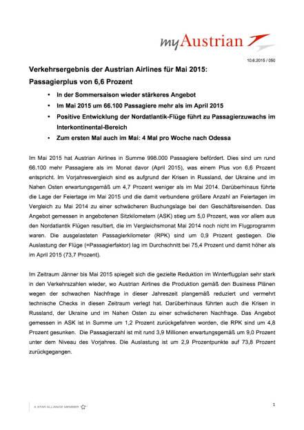 AUA mit Passagierplus von 6,6 Prozent im Mai, Seite 1/3, komplettes Dokument unter http://boerse-social.com/static/uploads/file_112_aua_passagiere.pdf (10.06.2015)