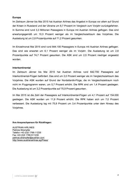 AUA mit Passagierplus von 6,6 Prozent im Mai, Seite 2/3, komplettes Dokument unter http://boerse-social.com/static/uploads/file_112_aua_passagiere.pdf (10.06.2015)
