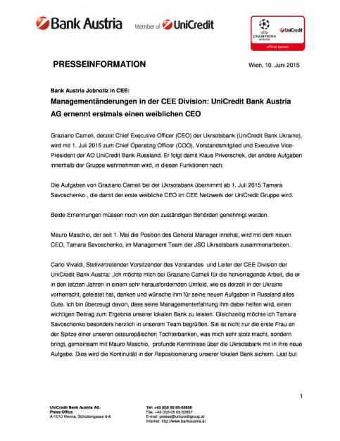 UniCredit Bank Austria AG ernennt erstmals einen weiblichen CEO, Seite 1/2, komplettes Dokument unter http://boerse-social.com/static/uploads/file_115_unicredit_cee.pdf (10.06.2015)