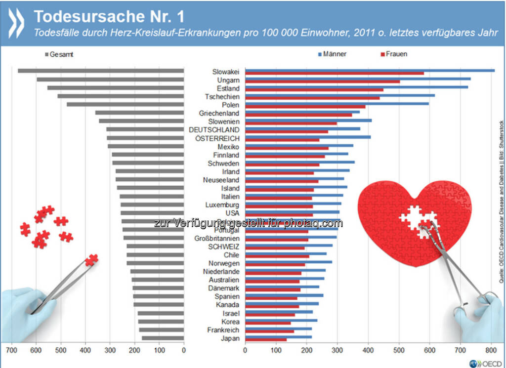 Killer-Krankheiten: Trotz eines massiven Rückgangs in den vergangenen Jahrzehnten sind Herz-Kreislauf-Erkrankungen in Industrieländern noch immer die erste Todesursache. Etwa ein Drittel aller Todesfälle in der OECD geht auf ihre Rechnung. Die neusten Erkenntnisse und Trends zu Herzinfarkten, Schlaganfällen und Co. gibt es unter: http://bit.ly/1N1TUXa, © OECD (17.06.2015)