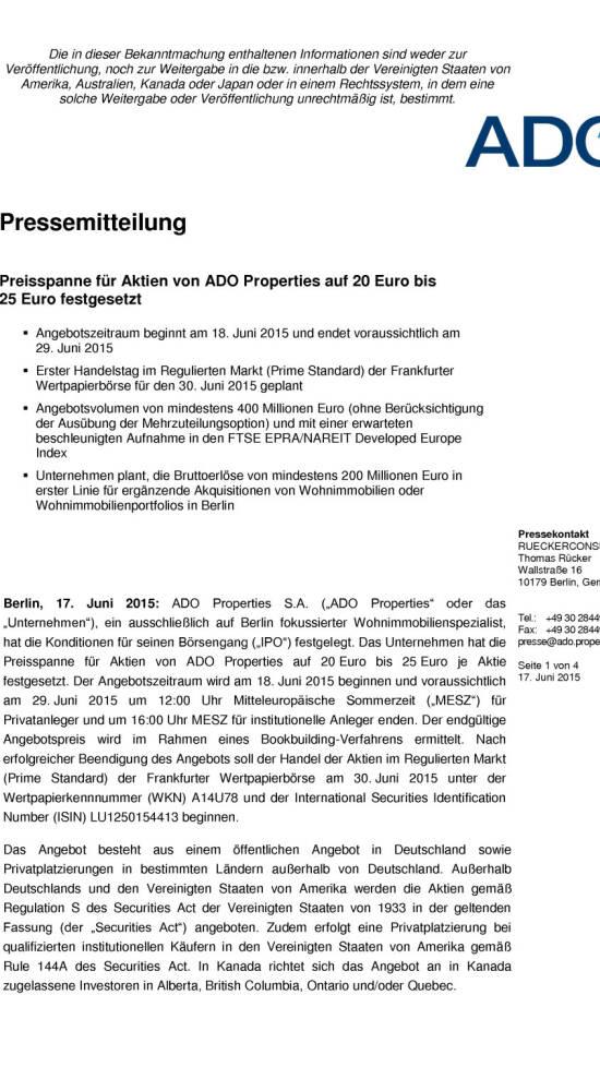 preisspanne f r aktien von ado properties auf 20 euro bis. Black Bedroom Furniture Sets. Home Design Ideas