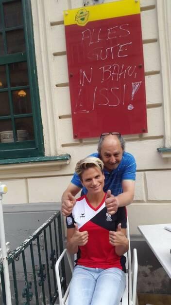 Alles Gute in Baku, Lissi! Elisabeth Niedereder, Hakim Hadi (17.06.2015)