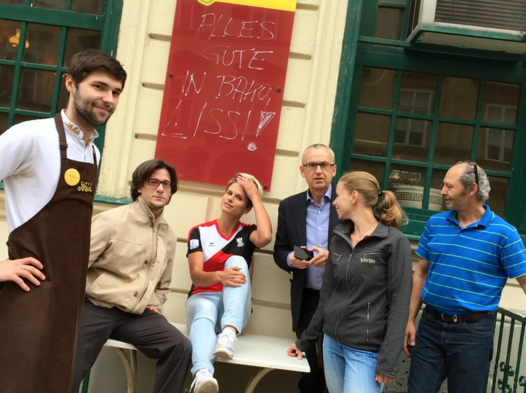 Philipp (vom Ströck), Lukas Jersabek (SPÖ Alsergrund), Elisabeth Niedereder (Tristyle), Peter Sitte (com_unit), Lisa-Marie Köhler (Motiwirtin), Hakim Hadi (Pizzeria Valentino) (17.06.2015)