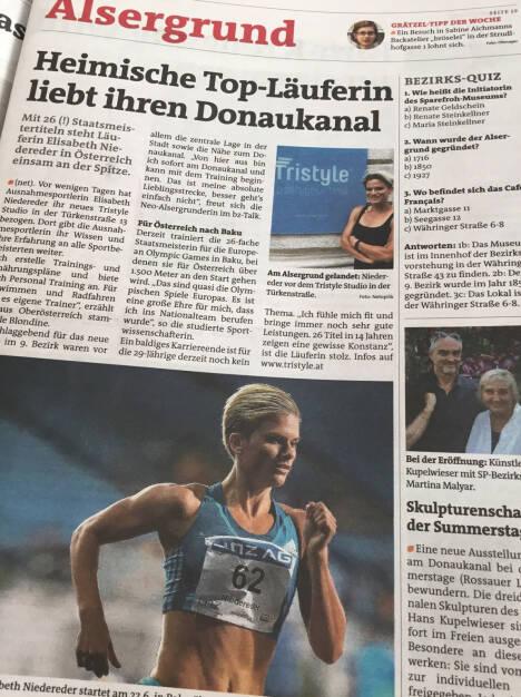 Elisabeth Niedereder in der Bezirkszeitung (19.06.2015)