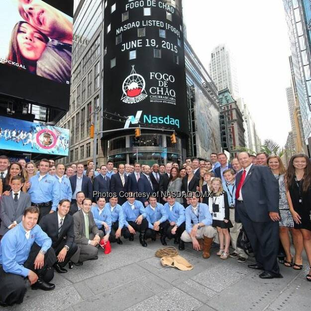 The whole @fogorestaurants crew in #TimesSquare! $FOGO #GoFogo  Source: http://facebook.com/NASDAQ (21.06.2015)