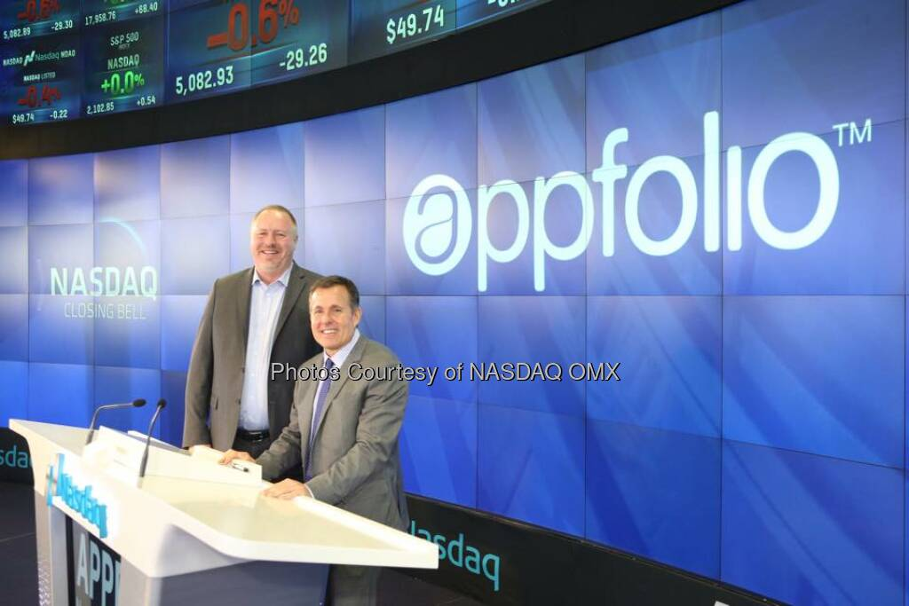 AppFolio rang the Nasdaq Closing Bell in celebration of #IPO today! $APPF #iheartappfolio  Source: http://facebook.com/NASDAQ (28.06.2015)