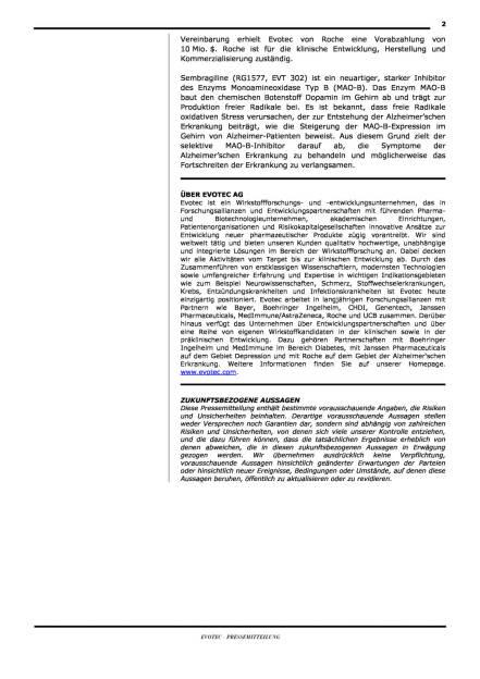 Evotecs Partner Roche mit Alzheimer-Ergebnissen, Seite 2/2, komplettes Dokument unter http://boerse-social.com/static/uploads/file_188_evotec_roche.pdf (30.06.2015)