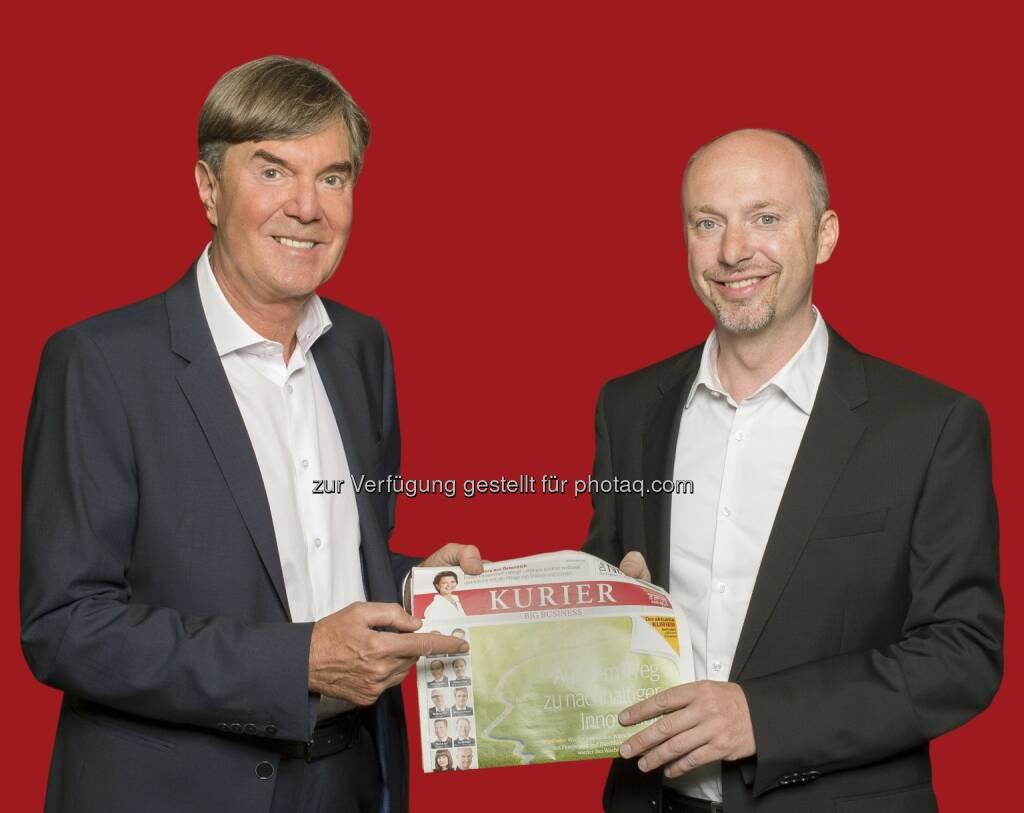 Richard Kaufmann übergibt Kurier-Gesamtanzeigenleitung an Stefan Lechner (Bild: Jeff Mangione/Kurier / Mediaprint), © Aussender (01.07.2015)