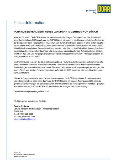Porr mit Großauftrag in Zürich, Seite 1/2, komplettes Dokument unter http://boerse-social.com/static/uploads/file_193_porr_mit_grossauftrag_in_zurich.pdf (02.07.2015)