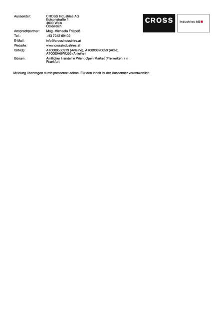 Cross schliesst Privatplatzierung ab, Seite 2/2, komplettes Dokument unter http://boerse-social.com/static/uploads/file_197_cross.pdf (02.07.2015)