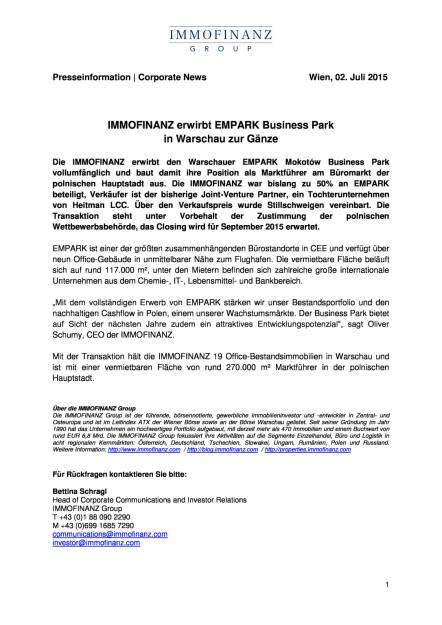 Immofinanz erwirbt Empark in Warschau , Seite 1/1, komplettes Dokument unter http://boerse-social.com/static/uploads/file_198_immofinanz_warschau.pdf (02.07.2015)