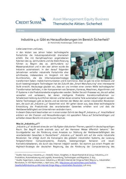 Industrie 4.0: Gibt es Herausforderungen im Bereich Sicherheit?, Seite 1/6, komplettes Dokument unter http://boerse-social.com/static/uploads/file_201_industrie_40_credit_suisse.pdf (03.07.2015)